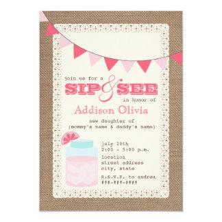 Pink Lemonade Burlap Inspired Sip & See Baby Girl 5x7 Paper Invitation Card