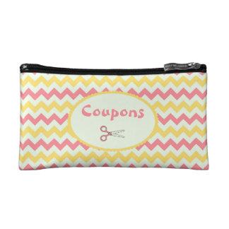 Pink Lemonade Chevron Coupon Organizer Cosmetic Bag