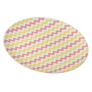 Pink Lemonade Chevron Melamine Plate
