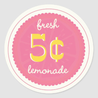 Pink Lemonade Favor Tags, Stickers, Seals Classic Round Sticker