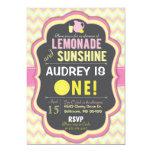 "Pink Lemonade First Birthday Chevron Invitation 5"" X 7"" Invitation Card"