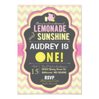 Pink Lemonade First Birthday Chevron Invitation