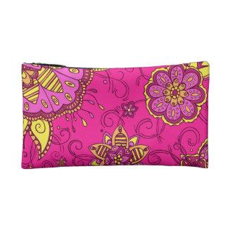 Pink Lemonade Floral Cosmetics Bags