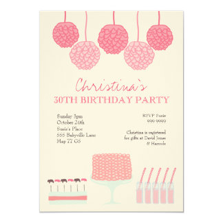 Pink Lemonade Girls Party Ruffle Cake Invite