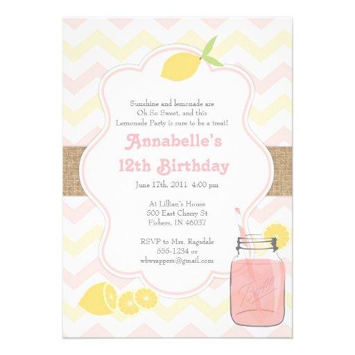 pink lemonade girly soft vintage invitation