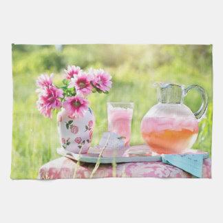 Pink Lemonade in the Garden kitchen towel