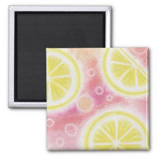 Pink Lemonade 'lemons' fridge magnet square