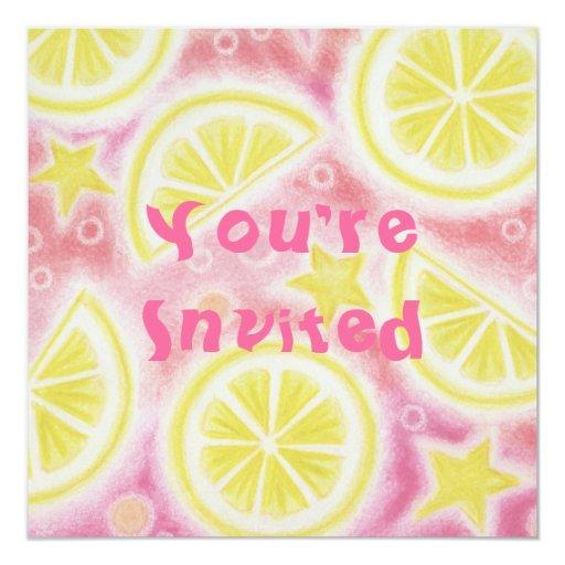 Pink Lemonade lemons invitation square