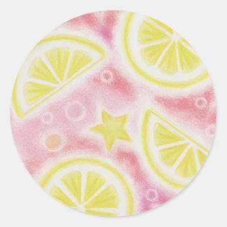 Pink Lemonade 'lemons' sticker round