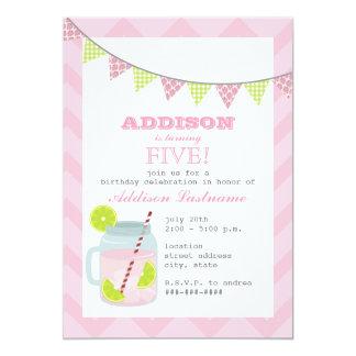 Pink Lemonade & Lime Chevron Birthday 5x7 Paper Invitation Card
