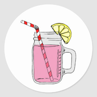 Pink Lemonade Mason Jar Classic Round Sticker