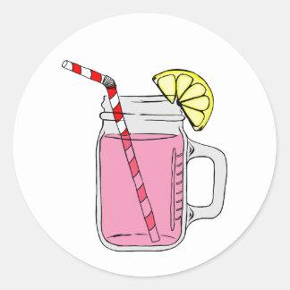 Pink Lemonade Mason Jar Classic Round Sticker