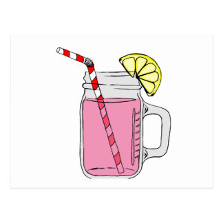 Pink Lemonade Mason Jar Postcard