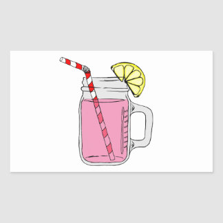 Pink Lemonade Mason Jar Rectangular Sticker