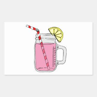 Pink Lemonade Mason Jar Rectangular Sticker