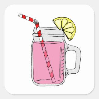 Pink Lemonade Mason Jar Square Sticker