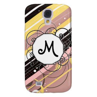 Pink Lemonade Modern-Retro Stripes with Monogram Galaxy S4 Case