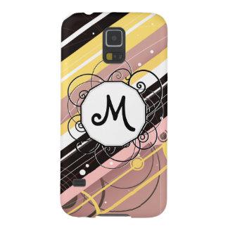 Pink Lemonade Modern-Retro Stripes with Monogram Galaxy S5 Cases
