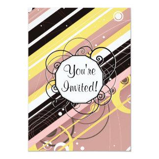 "Pink Lemonade Modern-Retro Stripes with Monogram 5"" X 7"" Invitation Card"