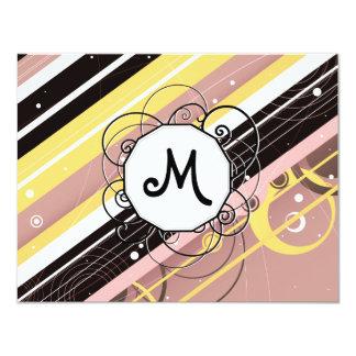 "Pink Lemonade Modern-Retro Stripes with Monogram 4.25"" X 5.5"" Invitation Card"