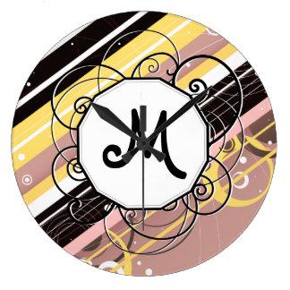 Pink Lemonade Modern-Retro Stripes with Monogram Large Clock