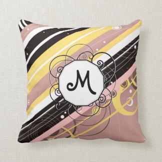 Pink Lemonade Modern-Retro Stripes with Monogram Throw Pillow