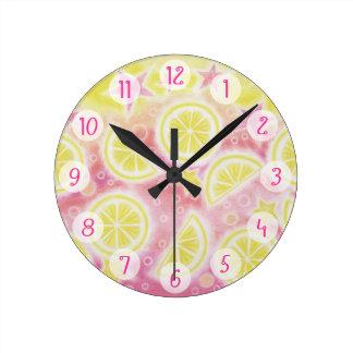 Pink Lemonade 'Numbers' clock medium round
