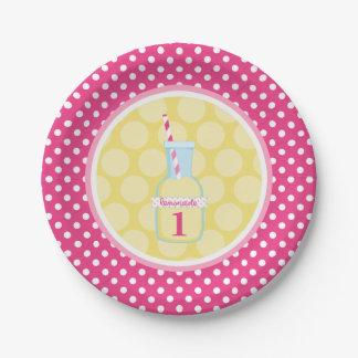 Pink Lemonade Polka Dot 1st Birthday Paper Plate