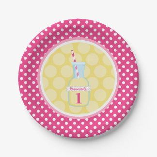 Pink Lemonade Polka Dot 1st Birthday 7 Inch Paper Plate