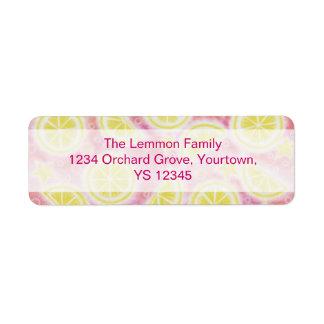 Pink Lemonade return address label centre text