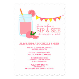 Pink Lemonade Sip and See Party 5x7 Paper Invitation Card