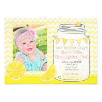 Pink Lemonade Stand first Birthday Invitation Card