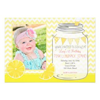 Pink Lemonade Stand first Birthday Invitation Card