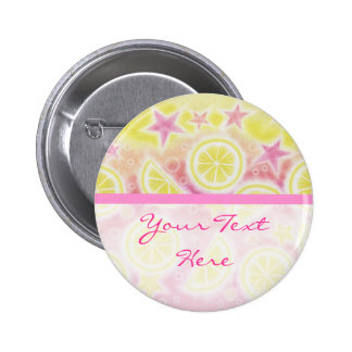 Pink Lemonade Your Text button badge stripe