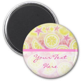 Pink Lemonade 'Your Text' fridge magnet stripe