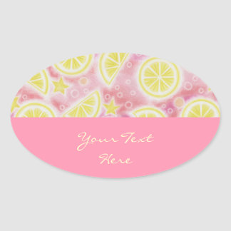 Pink Lemonade 'Your Text' sticker oval pink