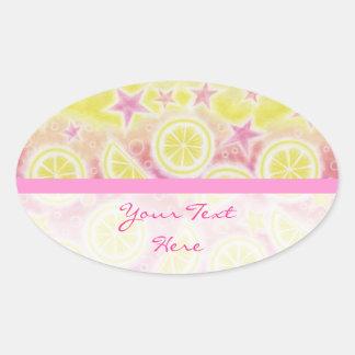 Pink Lemonade 'Your Text' sticker oval stripe