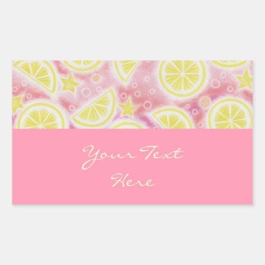 Pink Lemonade 'Your Text' sticker rectangle pink