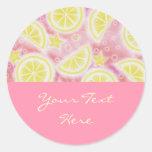 Pink Lemonade 'Your Text' sticker round pink