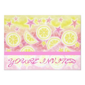 Pink Lemonade 'You're Invited' invitation stripe