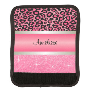 Pink Leopard and Glittery Print Luggage Handle Wrap