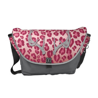 Pink Leopard and Silver Antlers Courier Bag