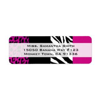 Pink Leopard and Zebra Animal Print Return Address Label
