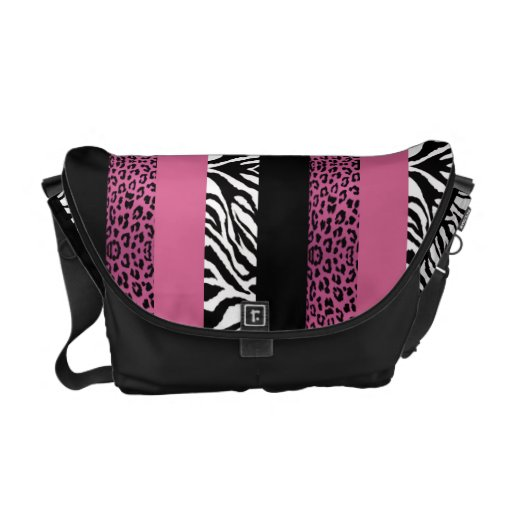 Pink Leopard and Zebra Custom Animal Print Messenger Bags