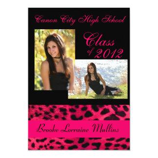 Pink leopard animal print graduation announcement
