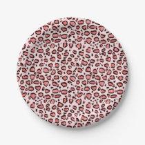 Pink Leopard Animal Print Pattern Paper Plate