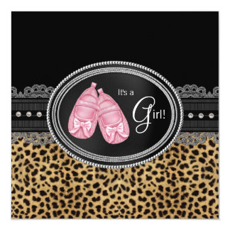 Pink Leopard Baby Shower 5.25x5.25 Square Paper Invitation Card