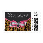 Pink Leopard Baby Shower Postage Stamps