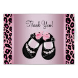 Pink Leopard Baby Shower Thank You Stationery Note Card