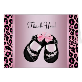 Pink Leopard Baby Shower Thank You Card